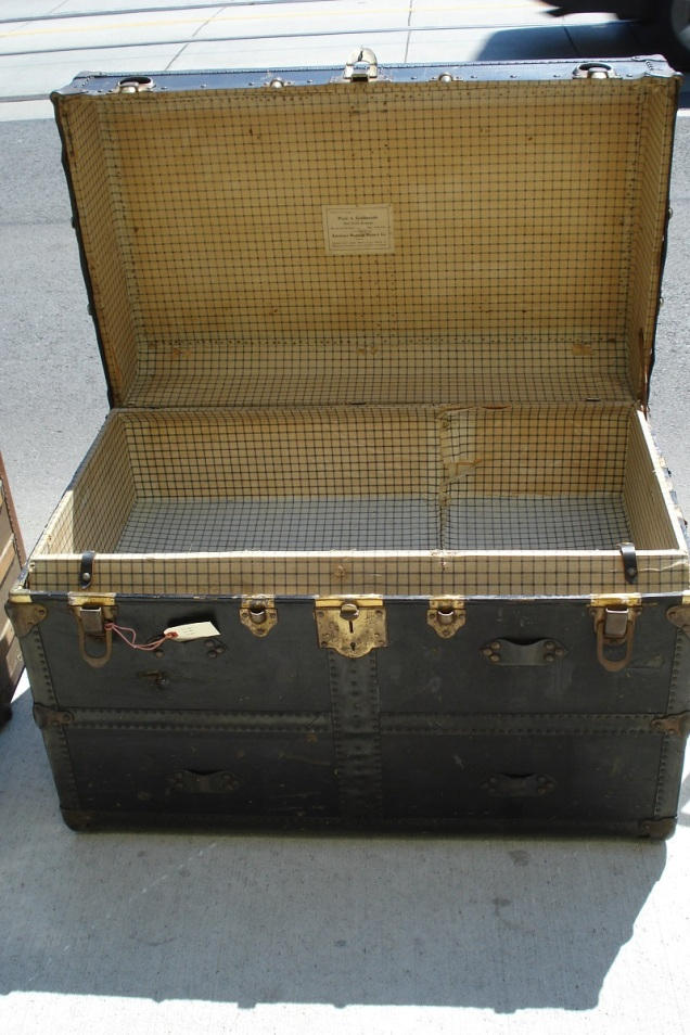 item # 1018 black leather trunk from Paul J. Goldsmith trunks and leatehr goods. circa 1800'sL=36 x D=22 x H=25 $295.00 (2)